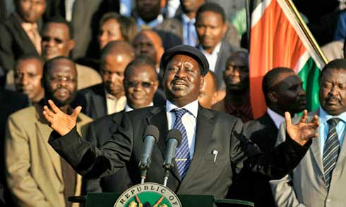 Kenya's prime minister, Raila Odinga, who has backed Dr Willy Mutunga's nomination,
