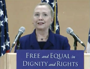 Secretary Clinton delivering remarks at the UN Geneva