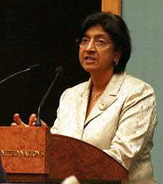 Navi Pillay, High Commissioner for Human Rights, United Nations